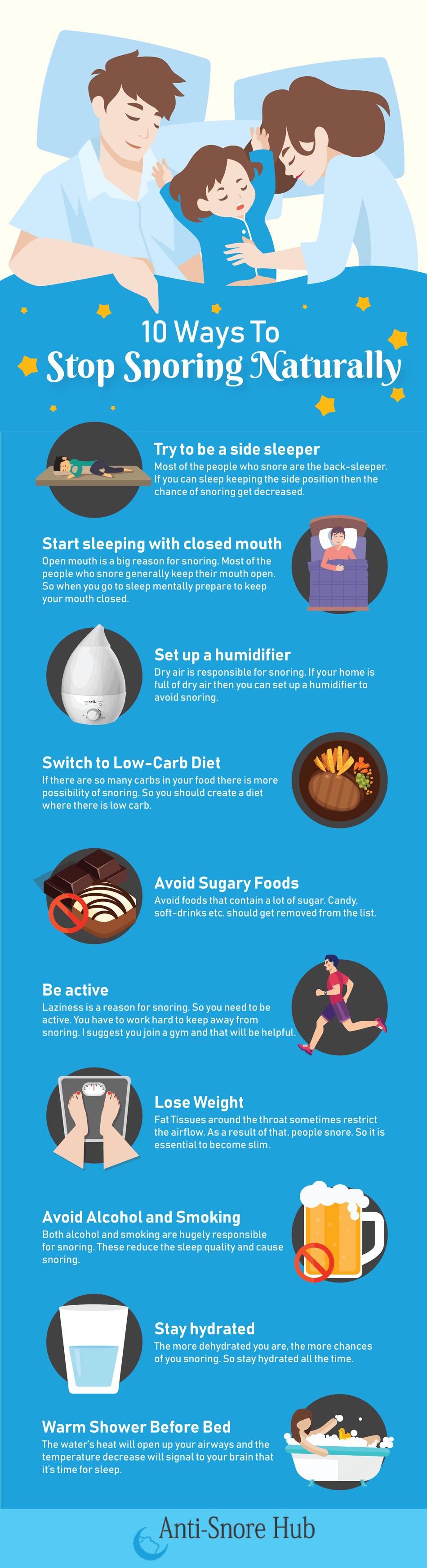 10 ways to stop snoring naturally infographic